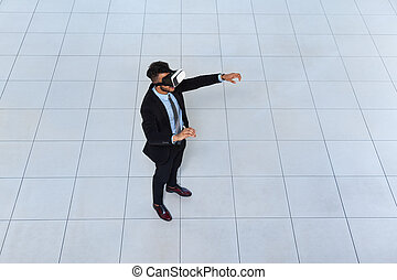 Business Man Wear Digital Glasses, Businessman Hold Hand Virtual Reality
