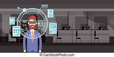 Business Man Wear Virtual Reality Digital Glasses Finance...