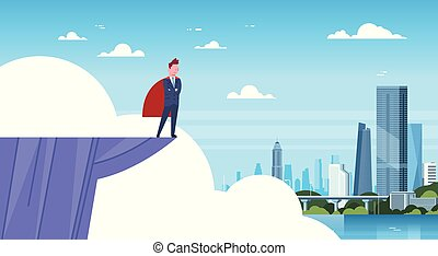 Business Man Wearing Red Cape Standing On Mountain Edge Looking At Modern City Businessman Hero