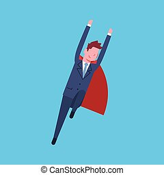 Business Man Wearing Red Hero Cape Businessman Isolated