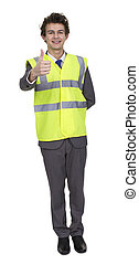 Business Man Wearing Security Jacket Showing Thumb Up Sign