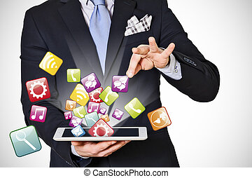 business man which extracts digital icons on white background