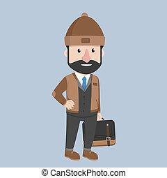 Business man winter office suit
