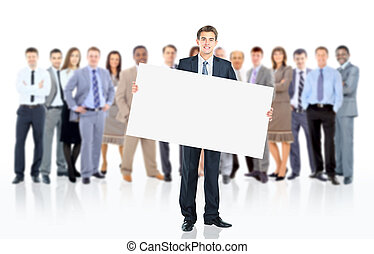 Business man with a banner and his business team