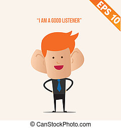 Business man with a big ears  - Vector illustration - EPS10