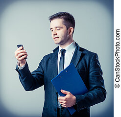 Business man with a clipboard
