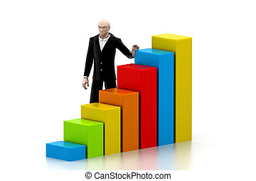 Business man with a growth graph