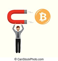 business man with a magnet is attracting bitcoin