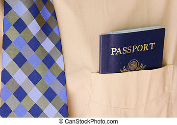 Business man with a passport in pocket