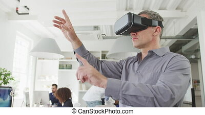 Business man with a virtual headset