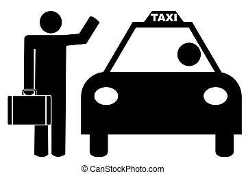 business man with arm up hailing a cab