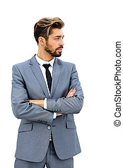 business man with arms crossed in a white background