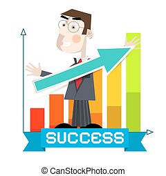 Business Man with Arrow and Success Graph Vector