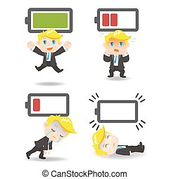 Business man with battery power - Business concept - Cartoon...