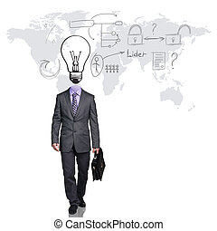 Business man with big bulb instead head