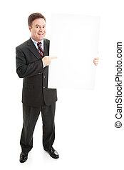 Business Man with Blank Sign - Full Body - Businessman...