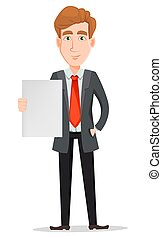 Handsome businessman in suit holding blank placard