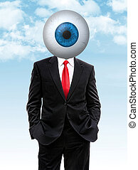 business man with blue eye ball instead of head, 3d...