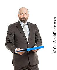 business man with blue folder