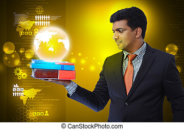 Business man with books and globe