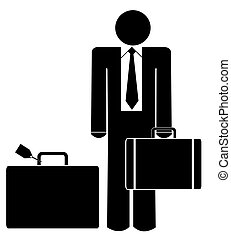 business man with briefcase and luggage