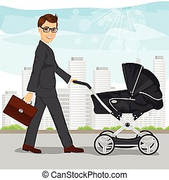 business man with briefcase pushing pram, baby carriage or stroller