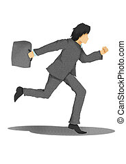 business man with briefcase running on white background