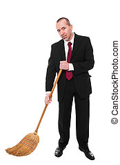 Business man with broom