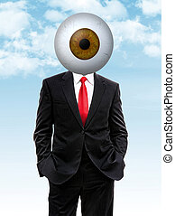 business man with brown eye ball instead of head, 3d...