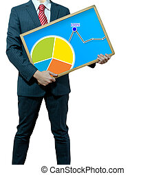 Business man with bukb head holding graph