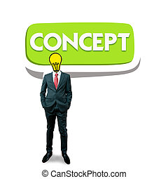 Business man with bulb head on the bubble concept screen background