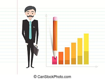 Business Man with Case and Success Graph on Notebook Paper Vector Illustration