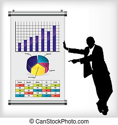 Business man pointing at color chart on wall