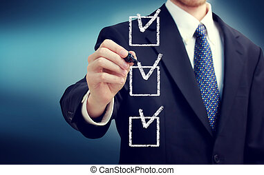 Business man with checkboxes - Business man with check boxes...