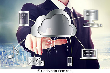 Business man with cloud computing theme with big city...