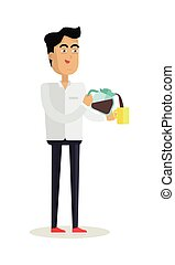 Business Man with Coffee Maker and Cup
