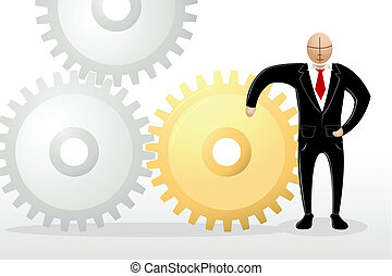 Business Man with Cog Wheel