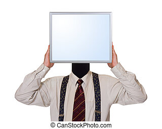 Business man with computer screen for head