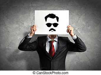 Business man with drawing