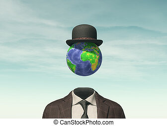 Business man with Earth globe
