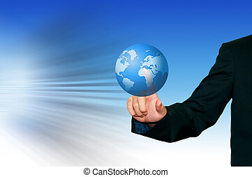 Business man with earth on the digital screen  background