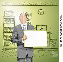 Business Man with Empty Write Board
