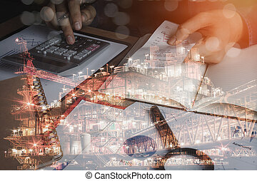 Business man with finances or accounting and offshore oil and gas industrial platform background concept. Double exposure of close up hand of men calculate bill expenses of finance and saving.