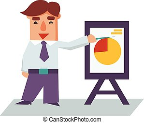 Business Man with Flip Chart Cartoon Character Vector Illustration