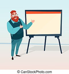 Business Man With Flip Chart Seminar Training Conference Brainstorming Presentation Financial Graph