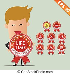 Business man with garantee tag - Vector illustration - EPS10