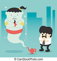 Business man with giant in magic lamp