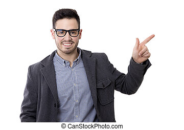 business man with glasses noting isolated on white
