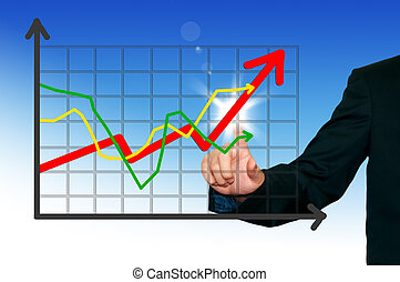 Business man with graph on the digital screen  background