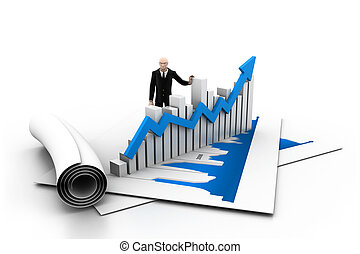 Business man with growth graph
